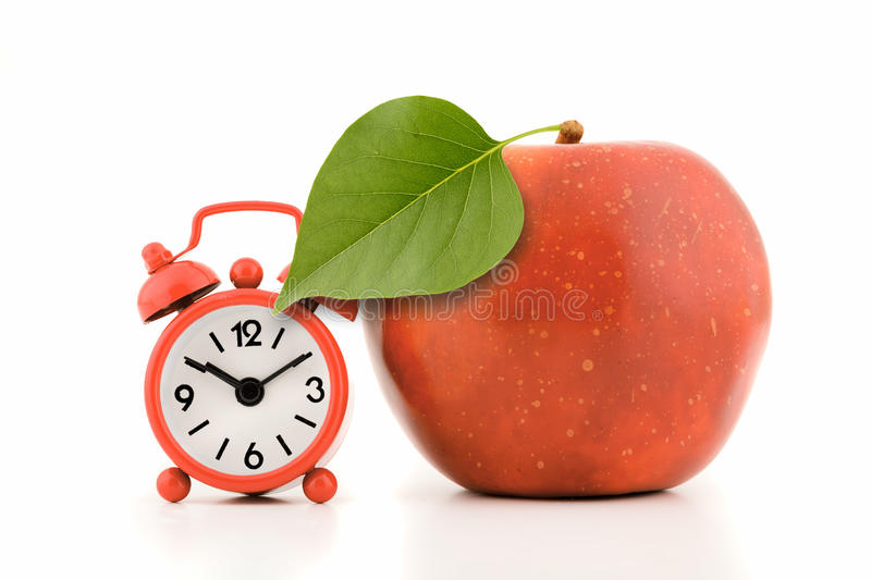 Apple With Green Leaf Royalty Free Stock Images