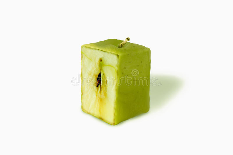 Apple green square cut. In white background stock illustration