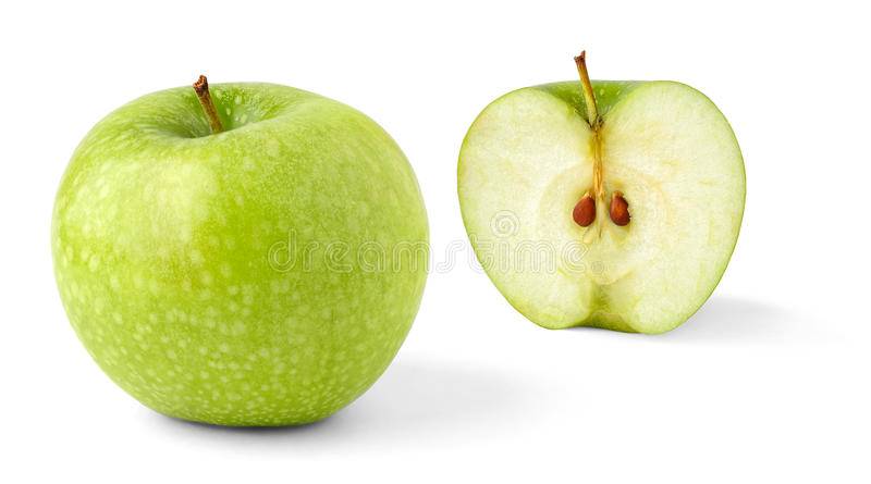 Apple and a half stock photo