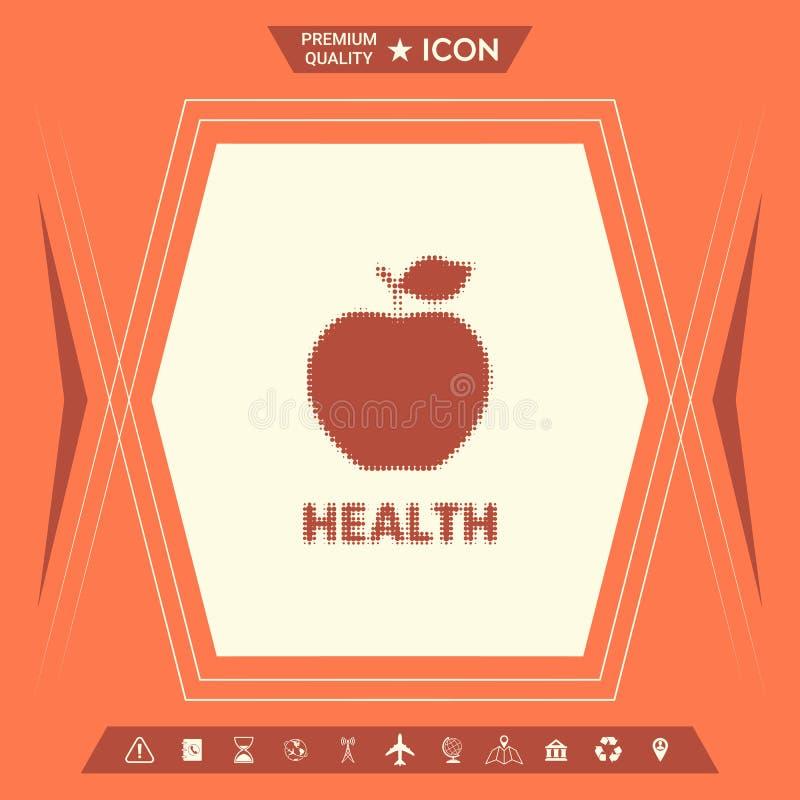 Apple - halftone embleem royalty-vrije illustratie