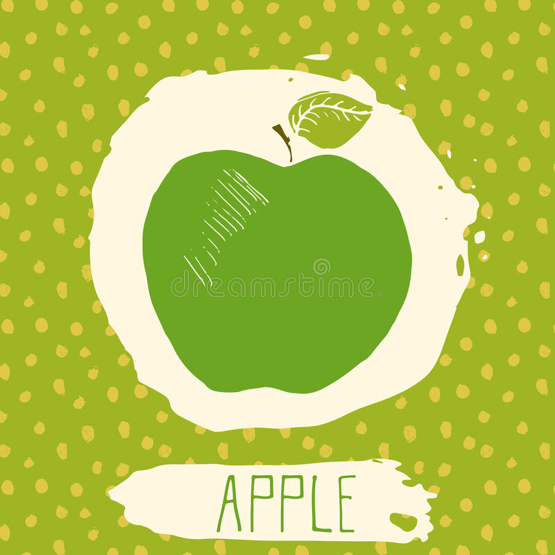 Apple hand drawn sketched fruit with leaf on blue background with dots pattern. Doodle vector apple for logo, label, brand identit stock illustration