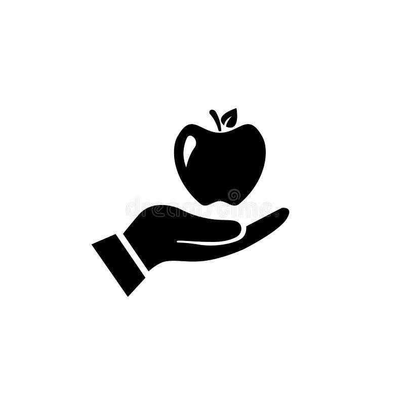 Apple-in hand Pictogram Gezond levensstijlconcept Vector vector illustratie