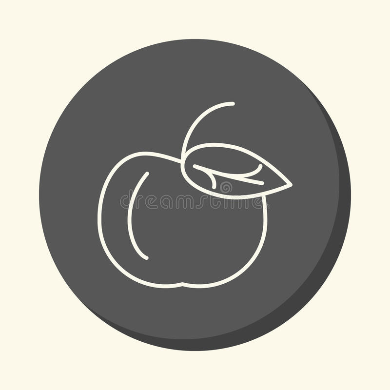 Apple with a handle and a leaf, a circular linear icon with an illusion of volume, an element for your school site or bookl. Apple with a handle and a leaf, a vector illustration