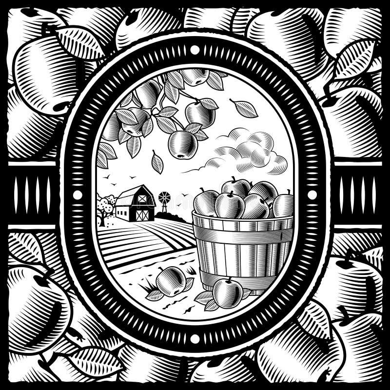 Apple harvest black and white vector illustration