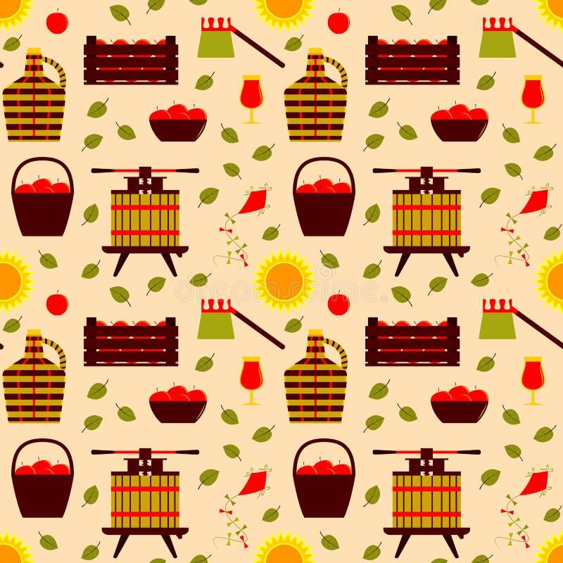 Apple harvest texture. Seamless texture with apple harvest decor on yellow background vector illustration