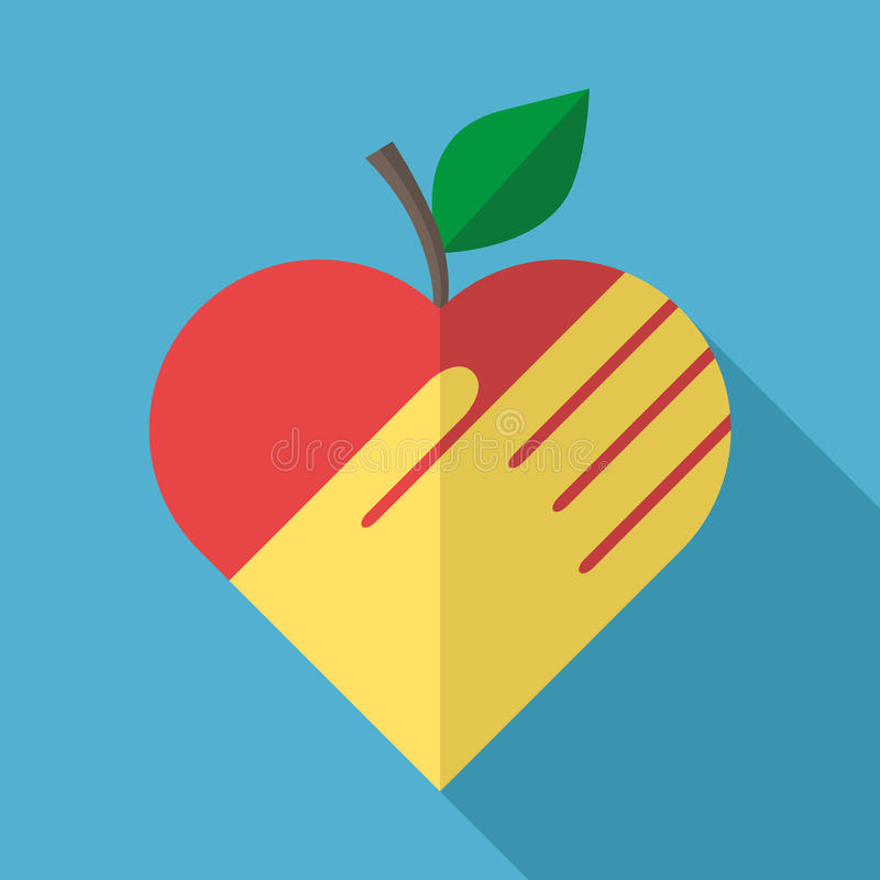 Apple, heart and hand vector illustration