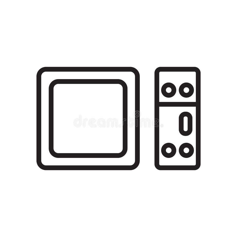 Apple-het pictogram vectordieteken en symbool van TV op witte backgroun wordt geïsoleerd stock illustratie