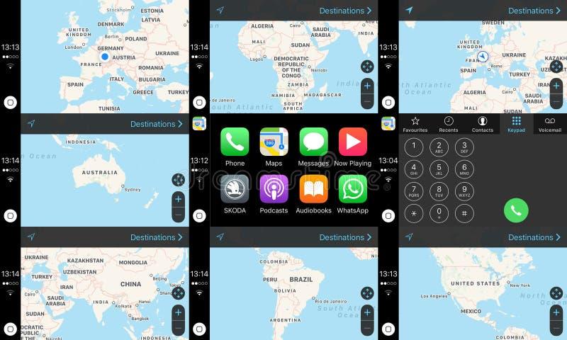 Apple-het scherm van het het dashboardhuis van het Autospel met kaarten van continenten royalty-vrije stock afbeeldingen