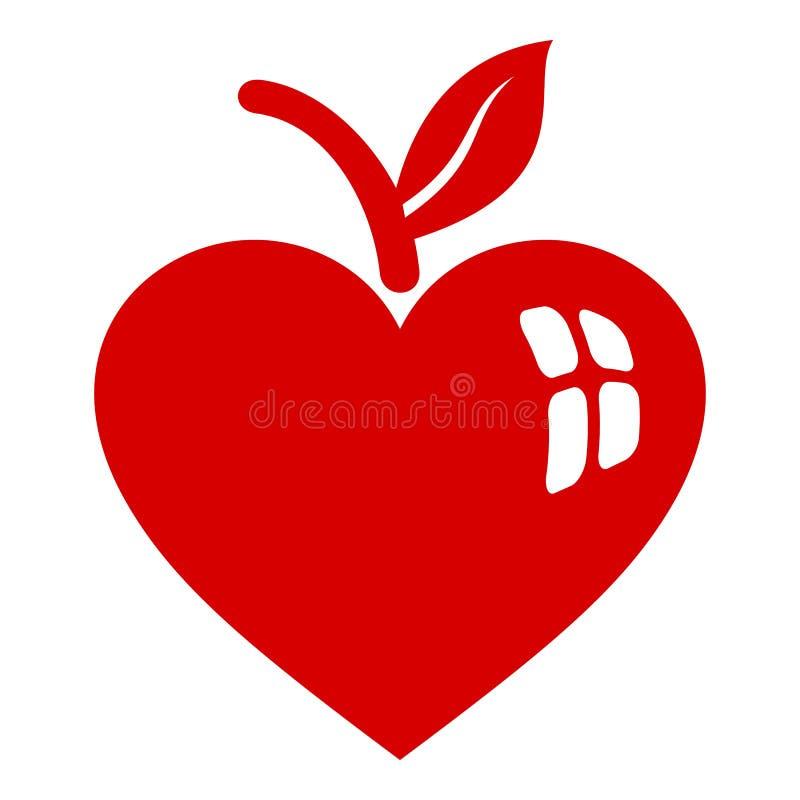 Apple hjärtasymbol, enkel stil vektor illustrationer