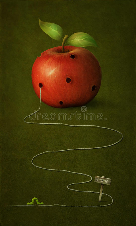 Download Apple with holes. stock illustration. Illustration of inscription - 24335511