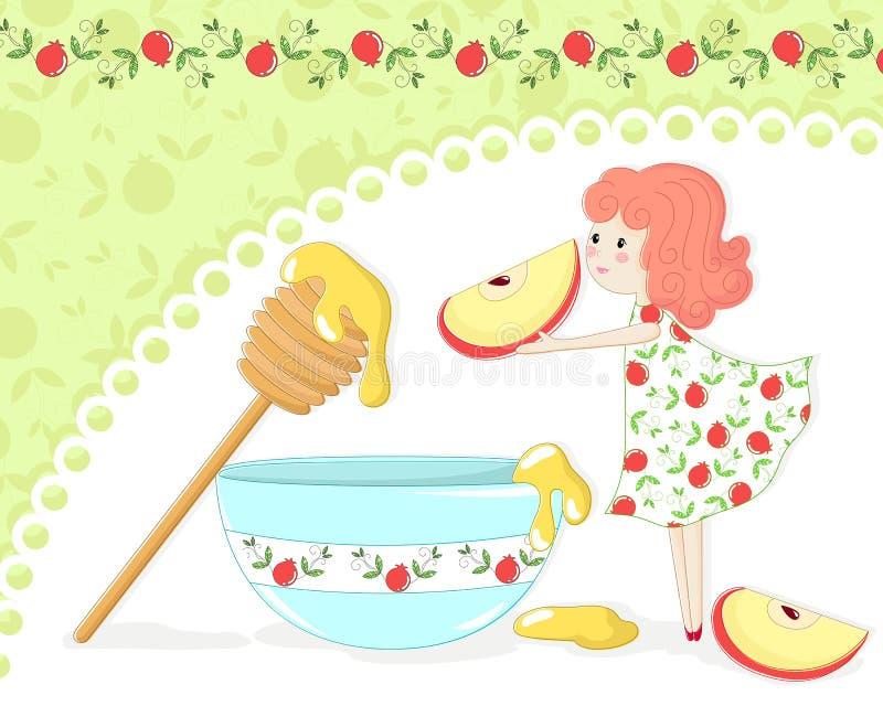 Apple and honey stock illustration