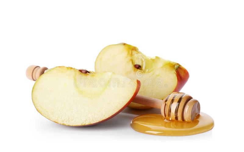 Apple, honey and dipper stock photography