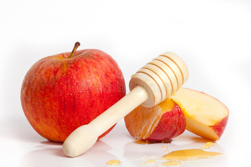 Apple and honey for Rosh Hashana jewish new year stock photos
