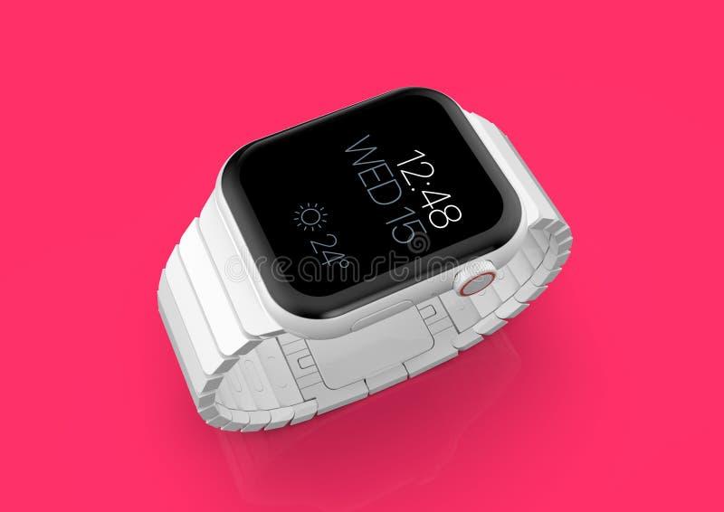 Apple-Horloge 4 wit ceramisch fictief gerucht smartwatch, model vector illustratie