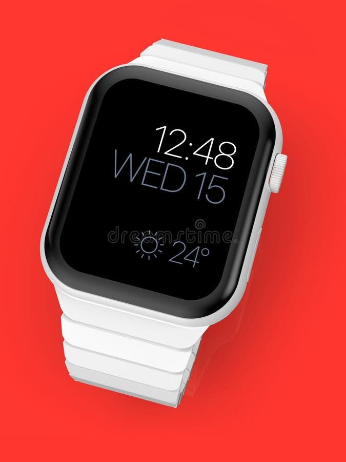 Apple-Horloge 4 wit ceramisch fictief gerucht smartwatch, model royalty-vrije illustratie