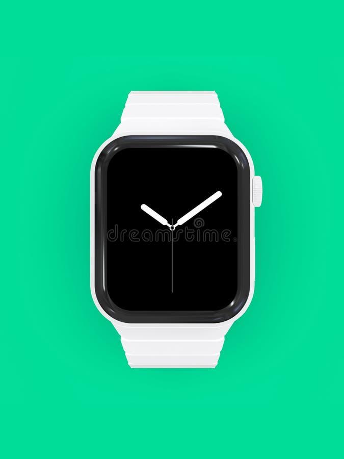 Apple-Horloge 4 wit ceramisch fictief geruchtenapparaat, model stock illustratie