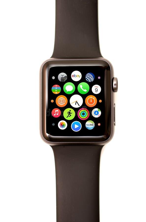 Apple-Horlogeapp Lanceerinrichting en pictogrammen stock foto