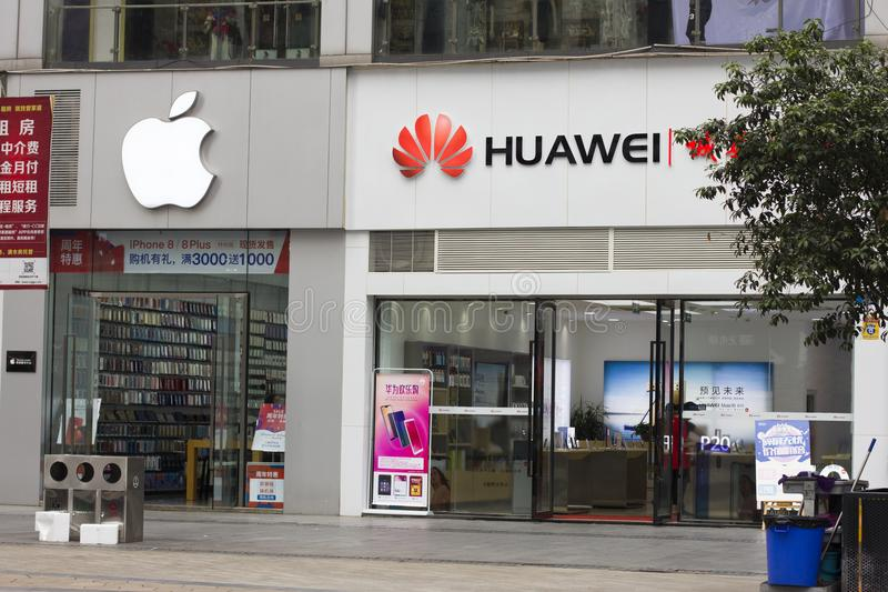 Apple and huawei(Science and technology war) stock images