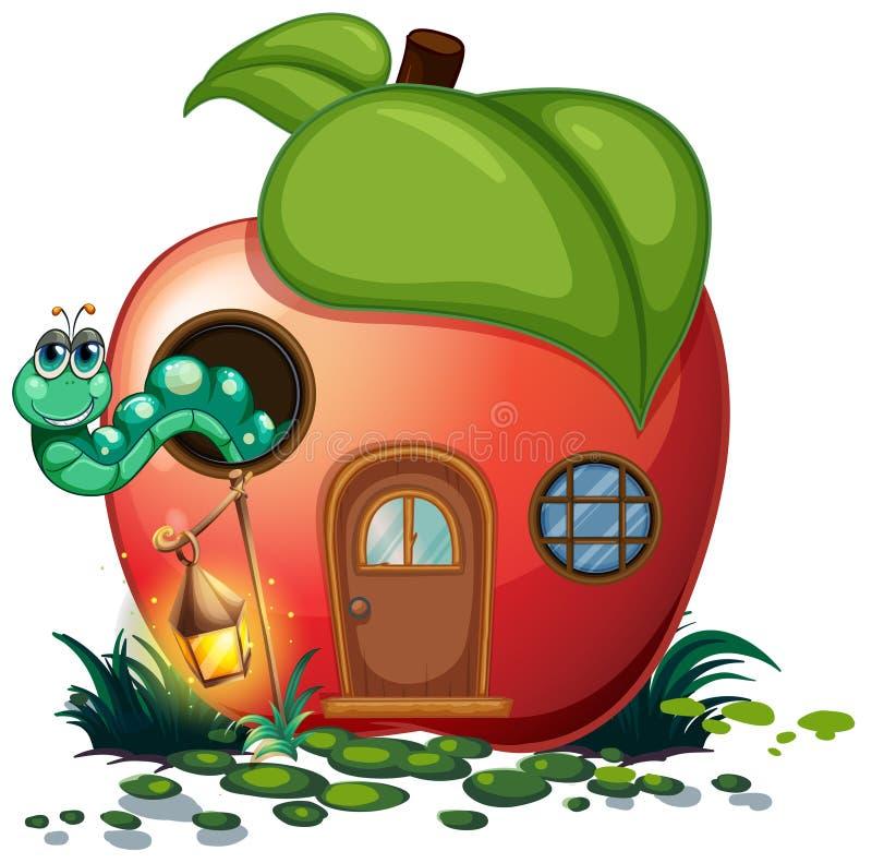 Apple-huis met binnen rupsband vector illustratie