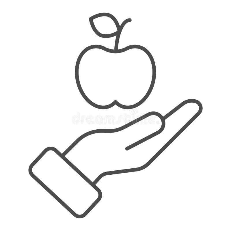 Apple i den tunna linjen symbol f?r hand V?rd- vektorillustration som isoleras p? vit Arm med design f?r ?pple?versiktsstil stock illustrationer