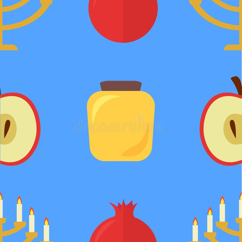 Apple i granatowa wzór, miód, Menorah ilustracja wektor