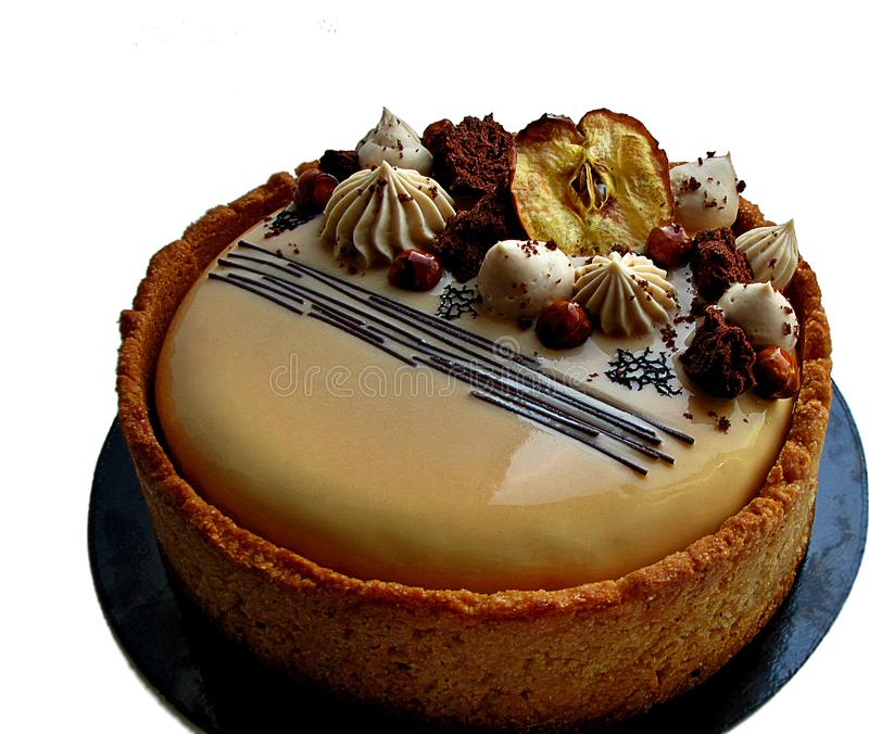 Apple i karmelu niegrzeczny tort z ciastkiem graniczymy obrazy stock