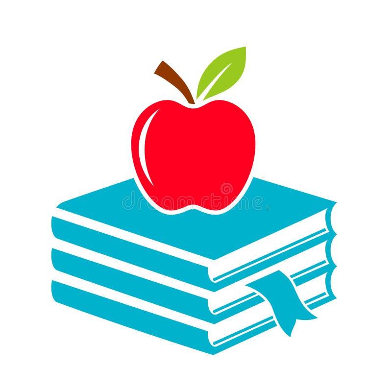 Apple i książki uczymy kogoś ikonę ilustracja wektor