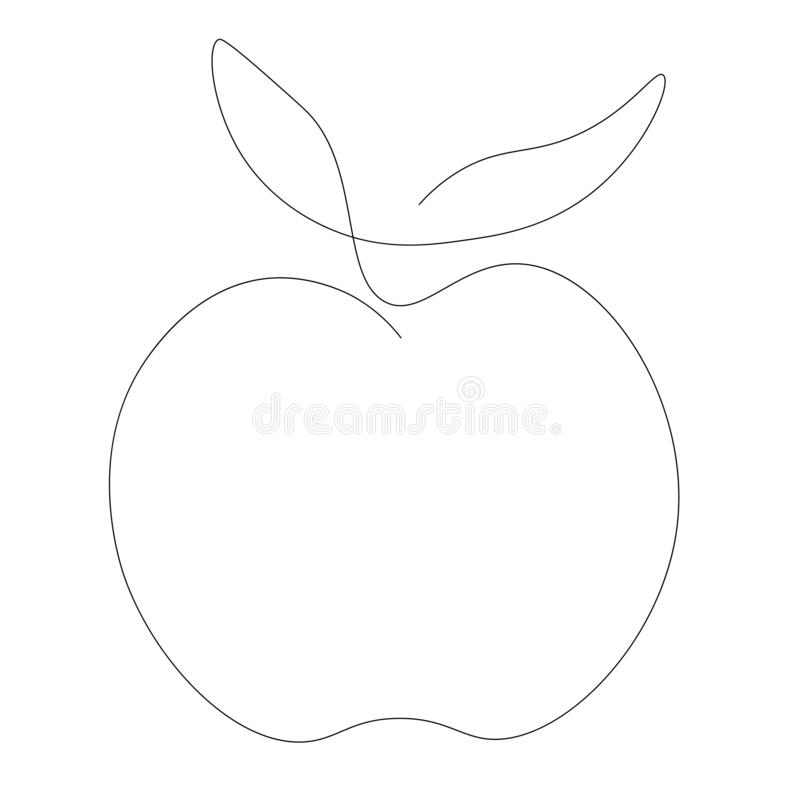Apple icon, fruit line drawing vector stock illustration