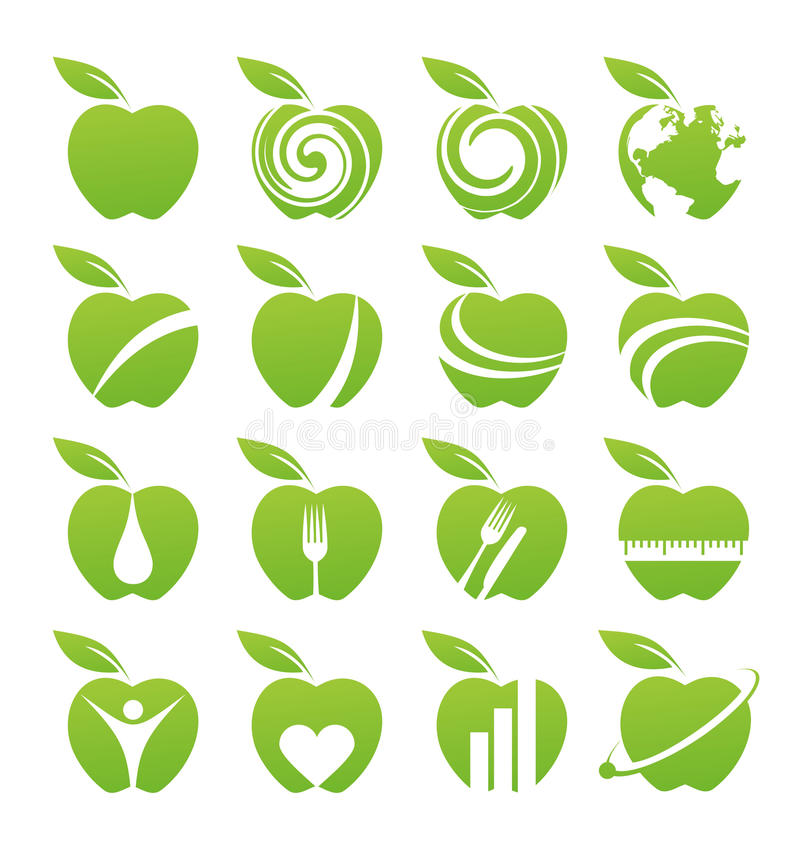 Apple icon set vector illustration