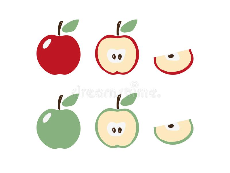 Apple icon set in modern flat design. Apple symbol in red and green with a leaf. Half and a slice of apple. Clip-art for logo, stock illustration