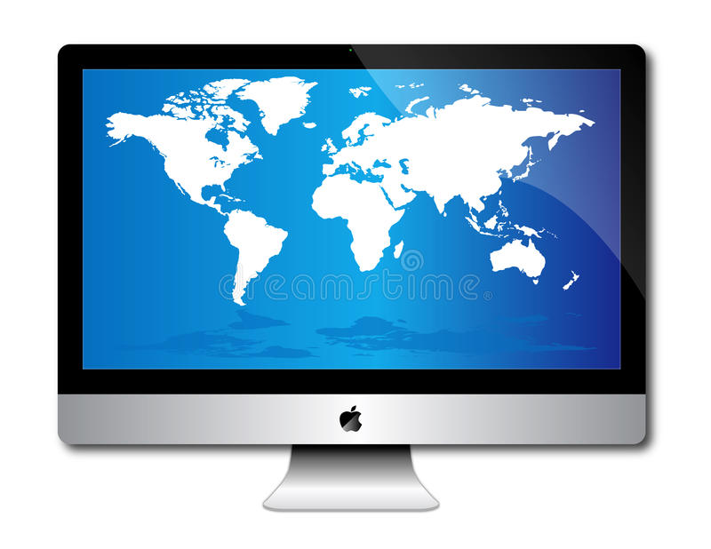 Apple imac desk top computer. An image of the latest, market leading, Apple imac desk top computer. Ideal choice for those wanting the latest experience in Apple stock illustration