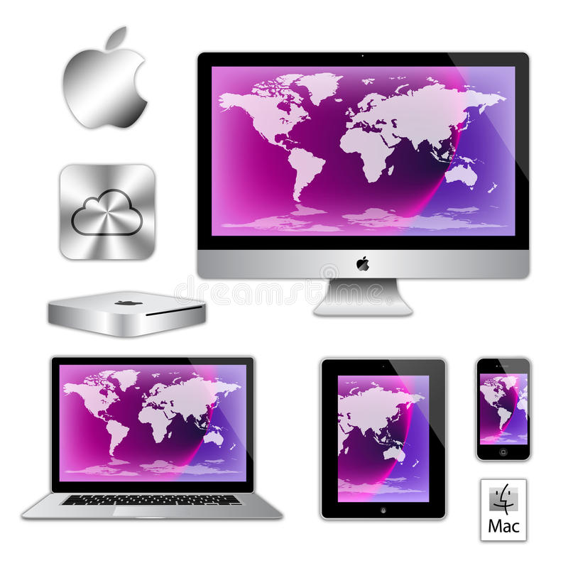 Apple imac iphone ipad macbook computers. An image of the latest, market leading, Apple mac air book laptop computer, imac desk top computer, ipad, iphone 5 and royalty free illustration