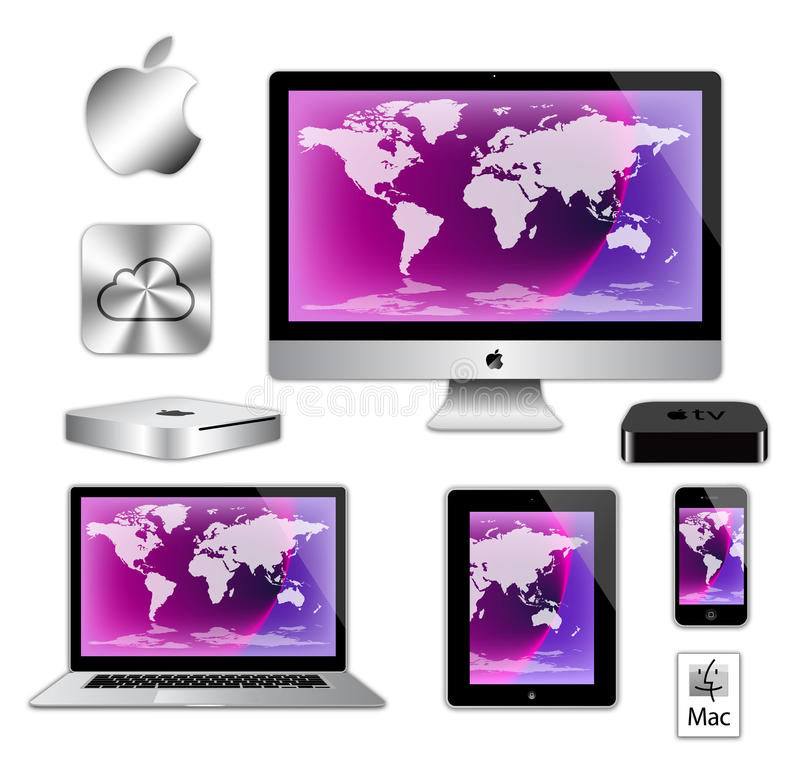 Apple imac iphone ipad macbook computers. An image of the latest, market leading, Apple mac air book laptop computer, imac desk top computer, ipad, iphone and royalty free illustration