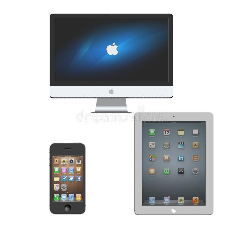 Apple iMac iPhoneiPad royaltyfri illustrationer