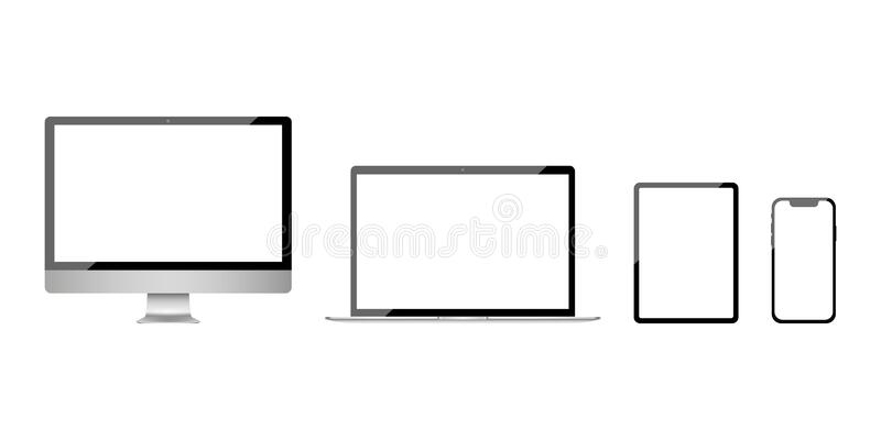 Apple iMac MacBook iPhone iPad. Realistic modern monitor, computer, laptop, smart phone, tablet. Device Mockup. Electronics. Industry. Vector illustration. EPS stock illustration
