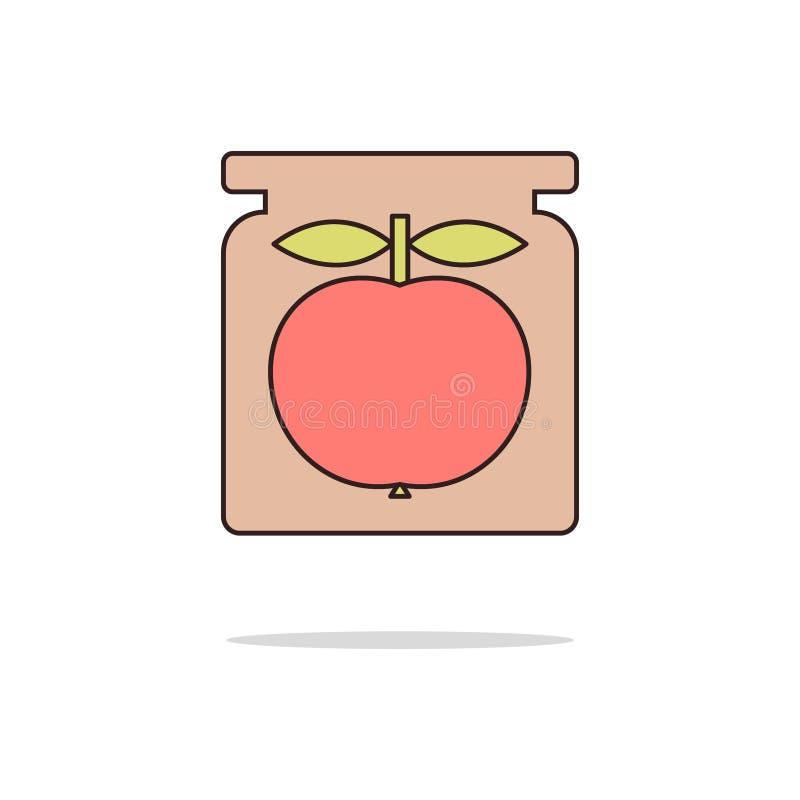 Apple inceppa la linea sottile icona di colore Illustrazione di vettore royalty illustrazione gratis