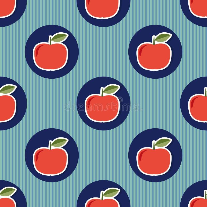 Apple inconsútil Textura inconsútil con las manzanas rojas maduras ilustración del vector
