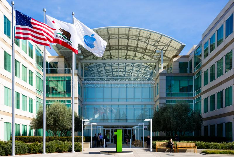 Apple Infinite Loop, Cupertino, California, USA - January 30, 2017: Apple stuff in front of the Apple world headquarters royalty free stock photo