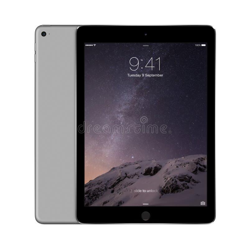 Apple Interliniuje Szarego iPad powietrze 2 z iOS 8 z kędziorka ekranem na d zdjęcie stock