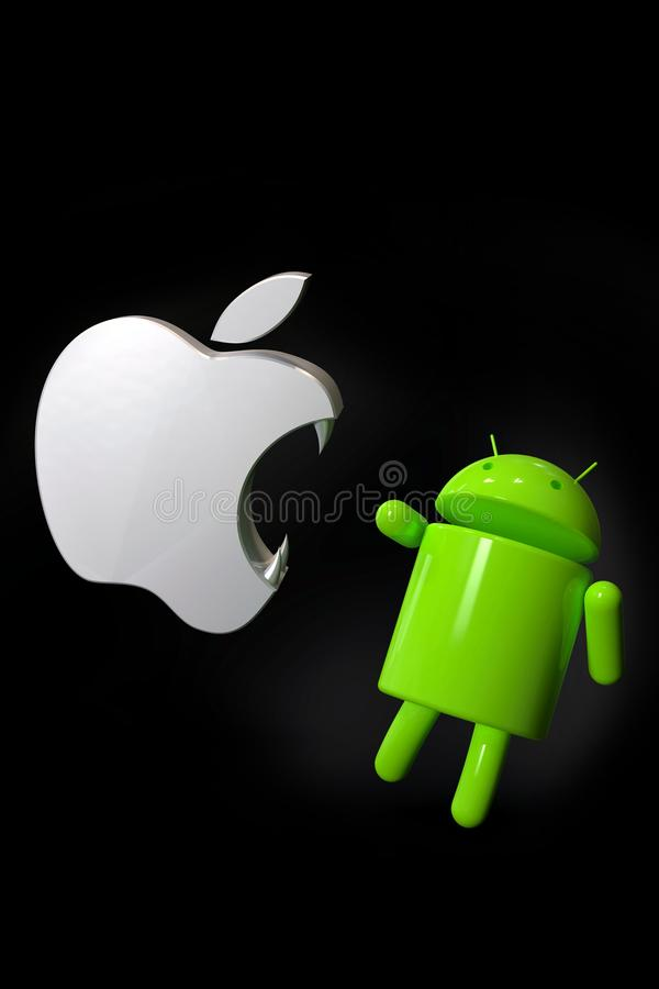 Apple iOS vs Android competition symbol - logo characters. Android versus Apple iOS - concept visual scene representing the Android and Apple logo symbols, as 3D stock illustration