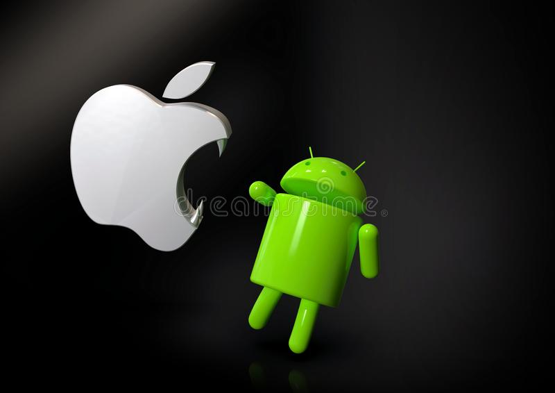 Apple iOS vs Android competition symbol - logo characters. Android versus Apple iOS - concept visual scene representing the Android and Apple logo symbols, as 3D vector illustration