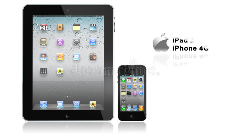 Apple iPad 2 and iPhone 4s. On white background royalty free illustration