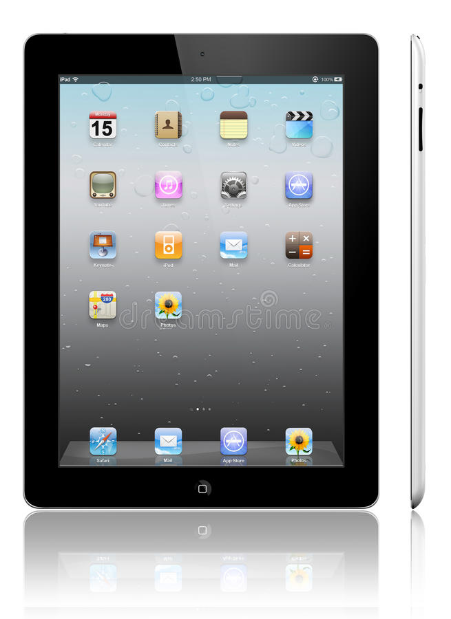Apple iPad 3 black. The iPad, the digital tablet with multi touch screen. iPad is owned by company Apple Inc. Side view of showing its white screen and isolated stock illustration
