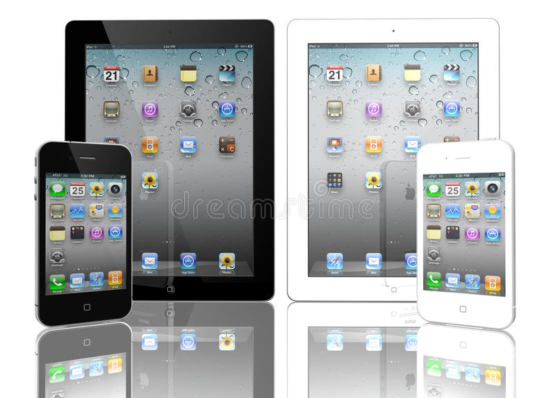 Apple iPad 3 and iPhone 4s black and white. The iPad 3, the digital tablet with multi touch screen. iPhone 4s black and white royalty free illustration