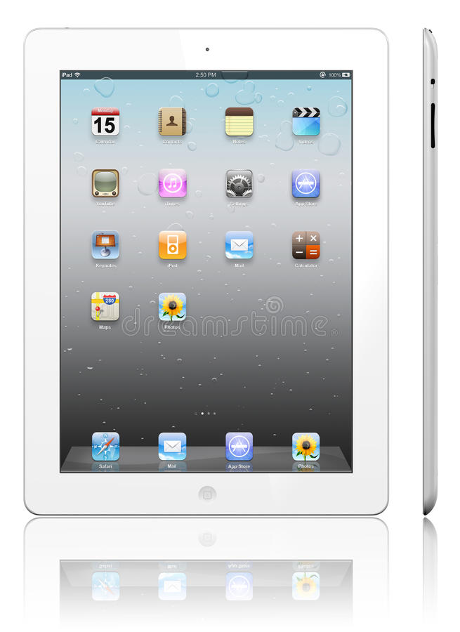 Apple iPad 3 white. The iPad, the digital tablet with multi touch screen. iPad is owned by company Apple Inc. Side view of showing its white screen and isolated