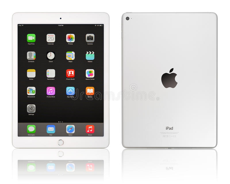 Apple iPad Air 2. KIEV, UKRAINE - JANUARY 29, 2015: Brand new white Apple iPad Air 2, 6th generation of the iPad, developed by Apple inc. and was released on