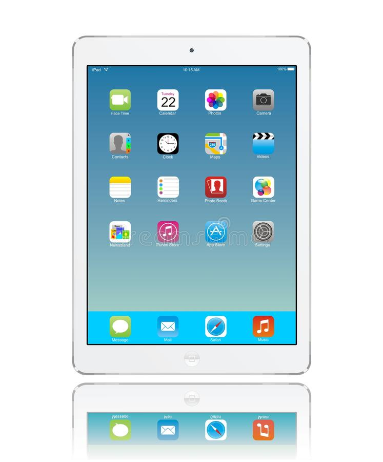 Apple iPad Air. White with icon ios 7 on screen eps 10