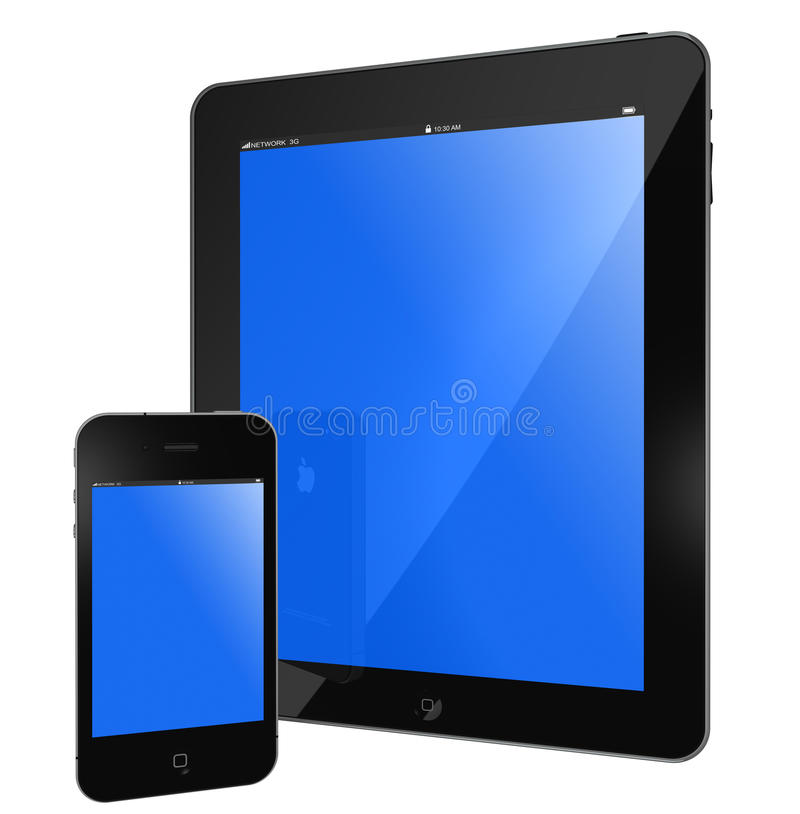 Apple Ipad and Iphone 4s. New Apple iPad and iPhone 4s black glossy, blue screen isolated on white vector illustration
