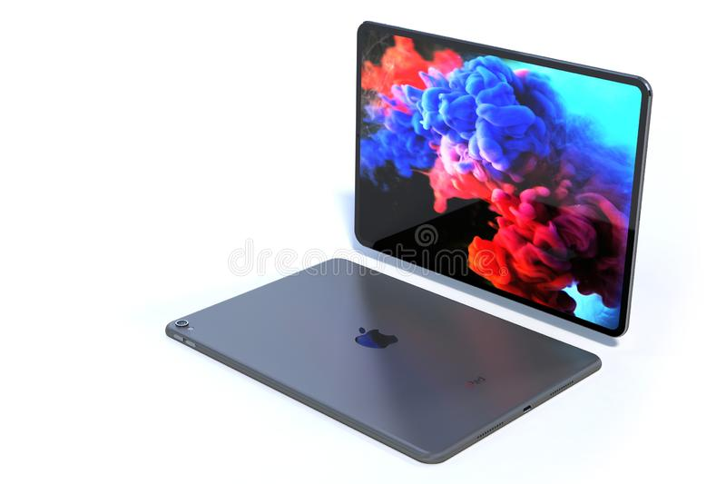 Apple iPad Pro 2018 realistic simulation preview royalty free illustration
