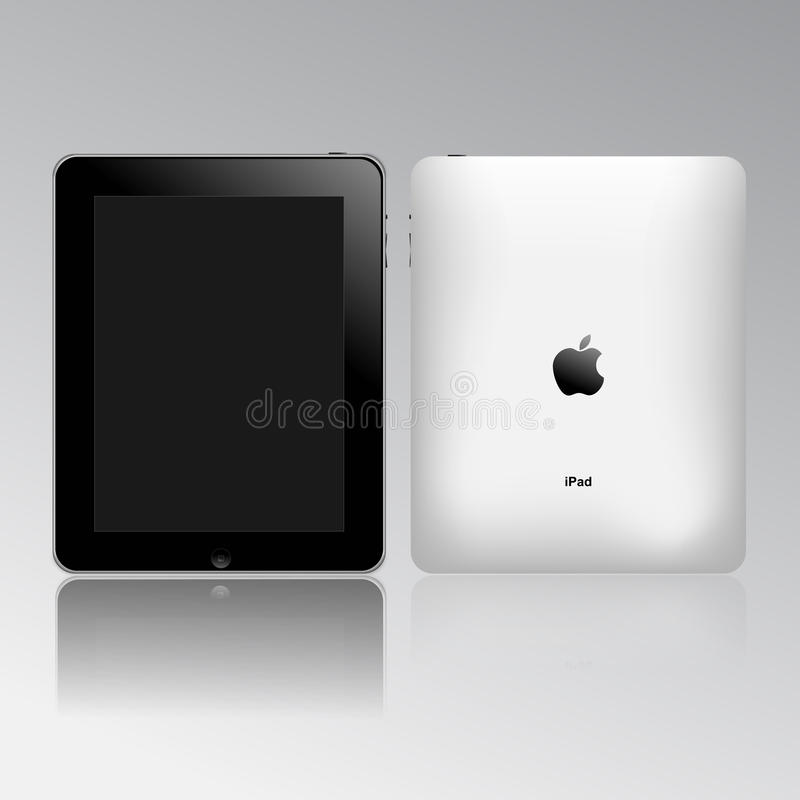 Apple ipad touch tablet pc. Apple ipad in a glossy background front and back sides view